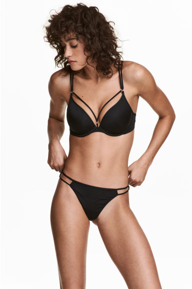Microfibre thong briefs - Black - Ladies | H&M CN 1