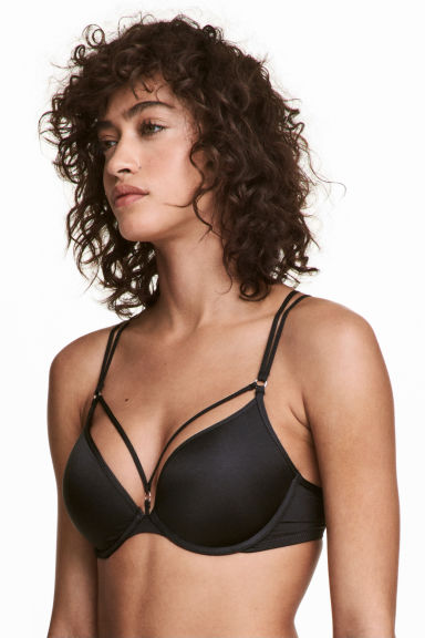 Microfibre push-up bra - Black - Ladies | H&M 1