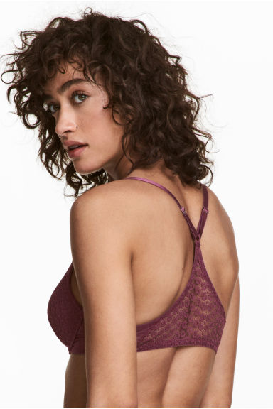 Padded underwired lace bra - Plum - Ladies | H&M 1