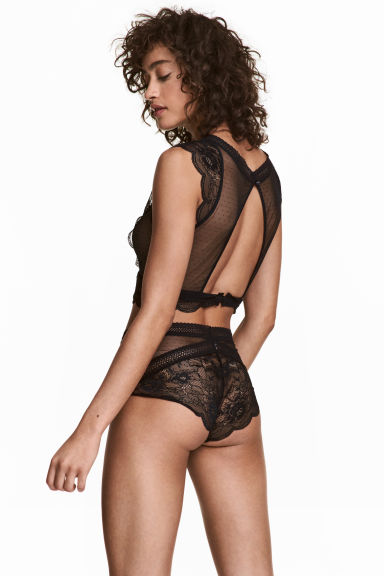 Lace high-waisted briefs - Black -  | H&M