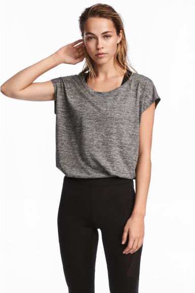 Sports top - Black marl - Ladies | H&M IE 1