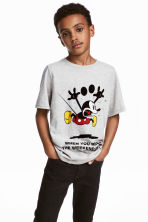 T-shirt with a print motif - Light grey/Mickey Mouse - Kids | H&M CA 1