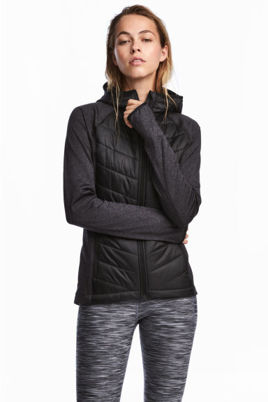 Padded outdoor jacket - Black marl - Ladies | H&M CA