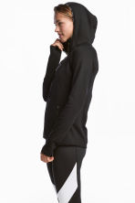 Fleece jacket with a hood - Black - Ladies | H&M 1