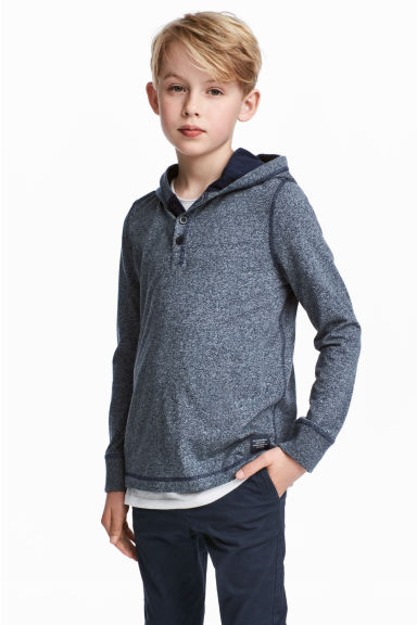 Jersey hooded top - Dark blue marl -  | H&M