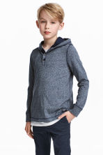 Jersey hooded top - Dark blue marl - Kids | H&M 1