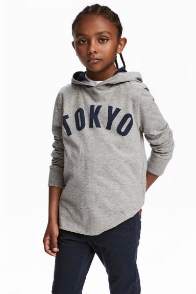 Jersey hooded top - Grey/Tokyo -  | H&M CN 1
