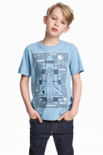 Generous fit T-shirt - Blue/Rocket - Kids | H&M CN 1