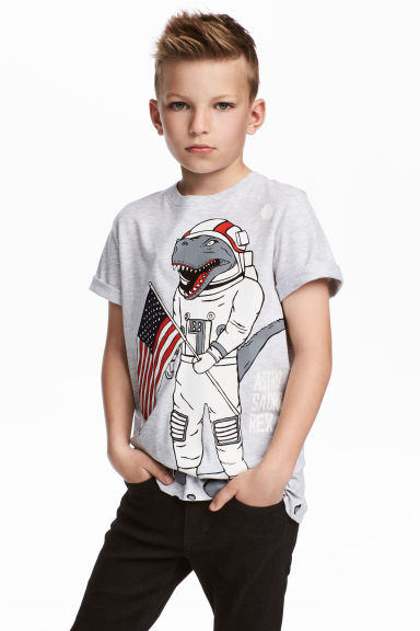 T-shirt with Printed Design - Light grey/Dinosaur - Kids | H&M CA 1