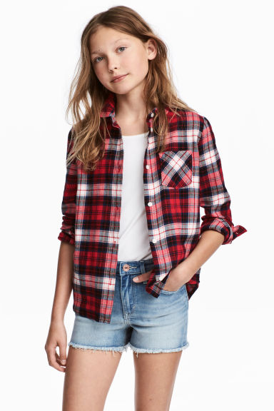 Flannel shirt - Red/Checked -  | H&M CN 1