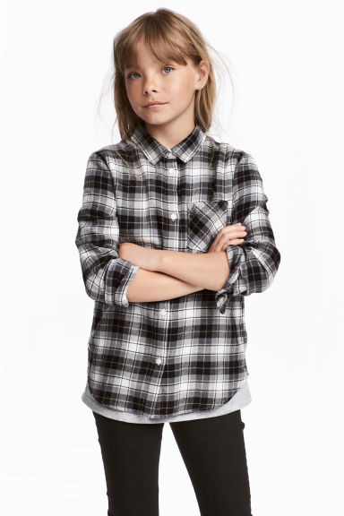 Flannel shirt - Grey/Checked - Kids | H&M CN