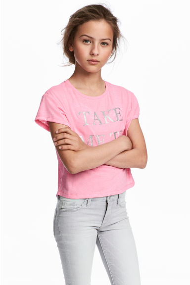 Burnout-patterned T-shirt - Pink -  | H&M CA 1