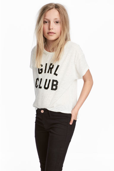Burnout-patterned top - White - Kids | H&M