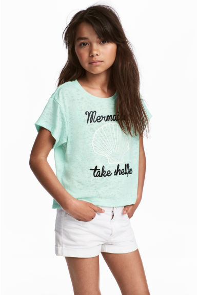 Burnout-patterned T-shirt - Mint green - Kids | H&M CA 1