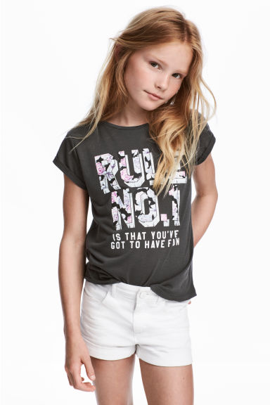 Printed jersey top - Dark grey - Kids | H&M CA 1