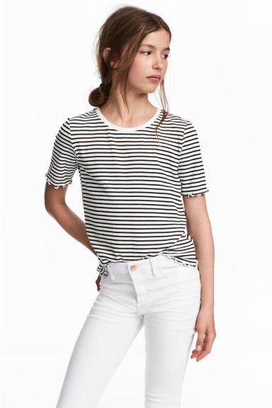 Wide jersey top - Black/White/Striped - Kids | H&M 1