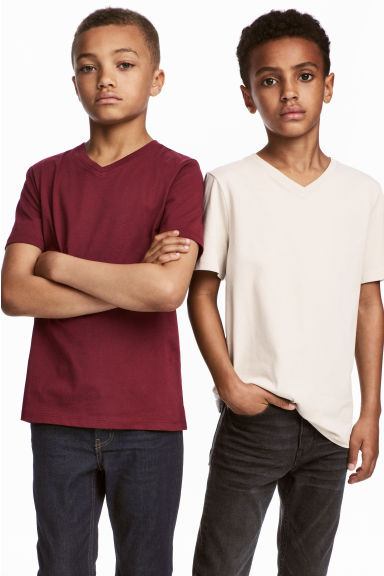 2-pack T-shirts - Burgundy -  | H&M CA 1