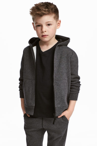 Hooded jacket - Dark grey marl - Kids | H&M CA 1