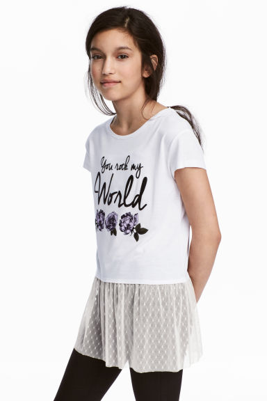 Jersey top with tulle - White -  | H&M 1