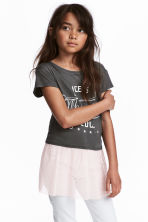Jersey top with tulle - Dark grey -  | H&M 1