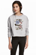 Printed sweatshirt - Grey/Skull - Kids | H&M CN 1