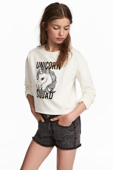 Printed sweatshirt - White/Unicorn - Kids | H&M CA 1