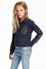 Printed sweatshirt - Dark blue/Text print -  | H&M 1