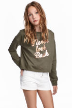 Printed sweatshirt - Khaki green - Kids | H&M CA 1