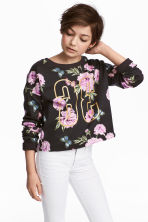Printed sweatshirt - Dark grey/Floral - Kids | H&M 1