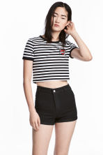 Cropped T-shirt - Black/White/Striped - Ladies | H&M CN 1