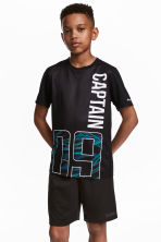 Short-sleeved sports top - Black - Kids | H&M 1