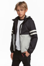 Fleece-lined windproof jacket - Black/Grey -  | H&M 1