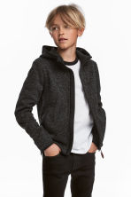 Knitted fleece jacket - Black marl - Kids | H&M CN 1