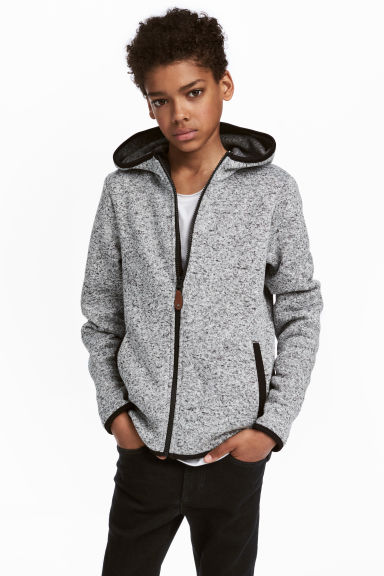 Knitted fleece jacket - Grey marl - Kids | H&M CN