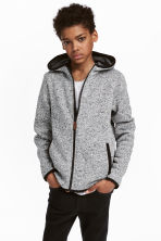 Knitted fleece jacket - Grey marl -  | H&M 1