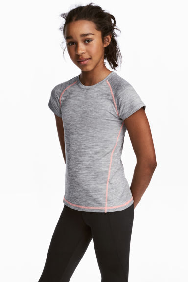 Short-sleeved sports top - Grey marl - Kids | H&M
