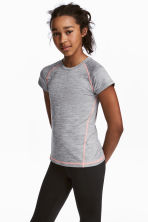Short-sleeved sports top - Grey marl - Kids | H&M 1