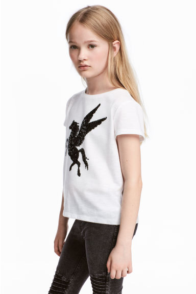 Top with sequins - White/Unicorn - Kids | H&M