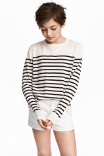 Fine-knit jumper - White/Blue striped - Kids | H&M 1