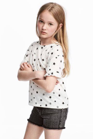 Frilled top - White/Stars -  | H&M 1