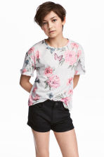 Frilled top - Light grey/Patterned - Kids | H&M 1