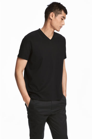 Premium cotton T-shirt - Black - Men | H&M CN 1