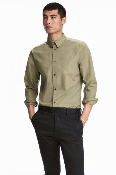 Premium cotton shirt - Khaki green - Men | H&M CN
