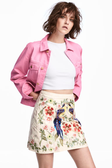 Embroidered skirt - Light pink -  | H&M 1