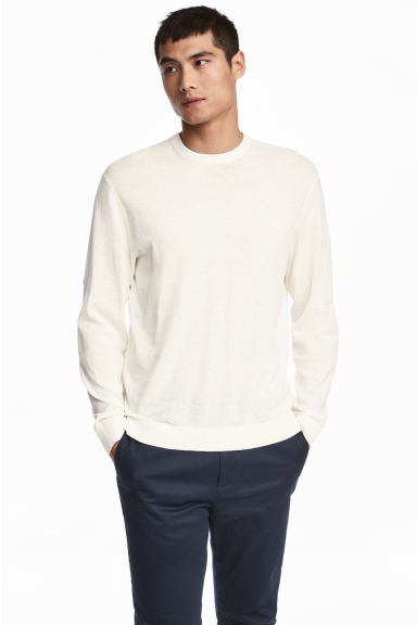 Linen-blend Sweater - White - Men | H&M IE