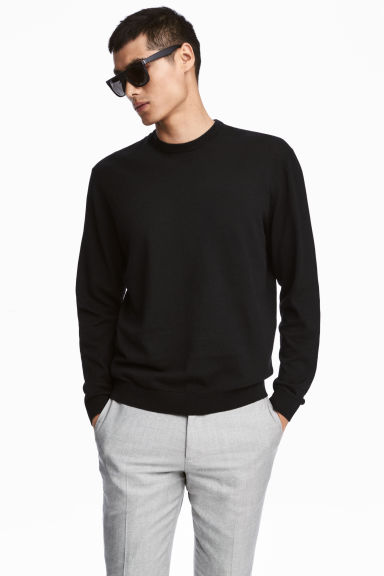 Jumper in a linen blend - Black - Men | H&M 1
