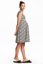 MAMA Ruffle-sleeved Dress - Natural white/patterned - Ladies | H&M CA 1
