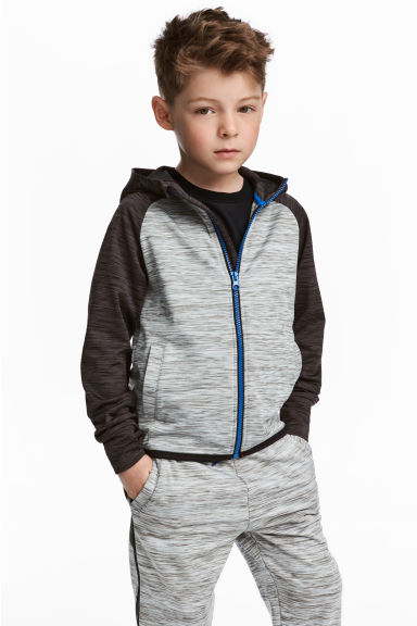 Hooded sports jacket - Grey marl - Kids | H&M CN 1