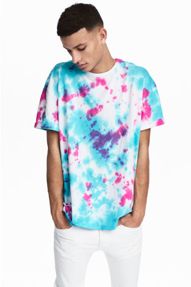 Batik-patterned T-shirt - Turquoise/Pink -  | H&M GB