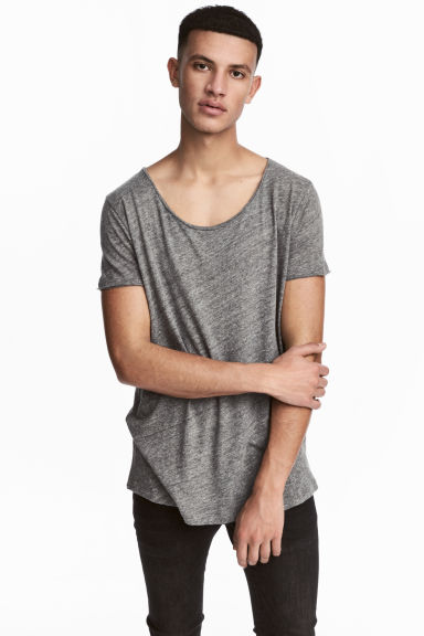Raw-edge T-shirt - Grey marl - Men | H&M 1